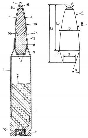 Эскиз патрона и твердосплавного сердечника из патента компании SM Schweizerische Munition Sunternehmung AG (US Patent 6 374 743 от 23.04.2002 г.)