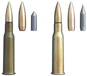 Варианты винтовочных патронов с пулями Stiletto. Справа — пуля массой 12г и ее сердечник, слева — пуля массой 13 г и ее сердечник