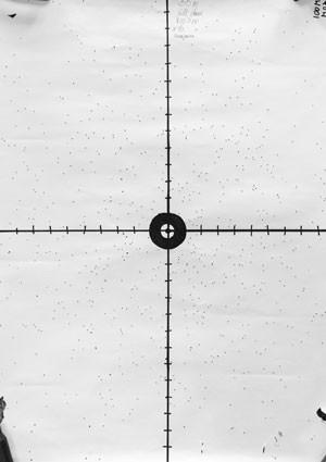Отстрелочная мишень демонстрирует завидную равномерность осыпи