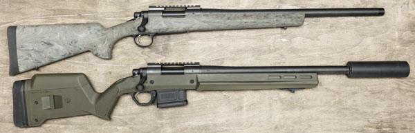 Remington 700 SPS Tactical ссамым коротким стволом (внизу) идеально подходит для использования с саунд-модератором Ase Utra SL7