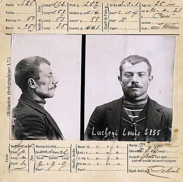 Луиджи Лукени – уголовная регистрация по системе Бертильона