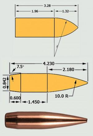 Выраженные в калибрах пропорции эталонных пуль моделей G1 и G7; пуля для стрельбы на большие расстояния Berger Target VLD (внизу) — совершенно очевидно, какая модель ближе