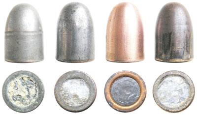 Пули патрона Ball Cartridge, Model of 1911 разных лет выпуска: ранняя модель пули с каннелюрой на оживальной части; пуля в томпаковой оболочке, покрытой оловом; пуля времен Второй мировой войны в покрытой томпаком стальной оболочке; пуля в томпаковой оболочке, прошедшая канал ствола