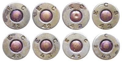 Клейма на стальных гильзах, выпущенных в 1942-1943 гг. патронной фабрикой Evansville Ordnance Plant