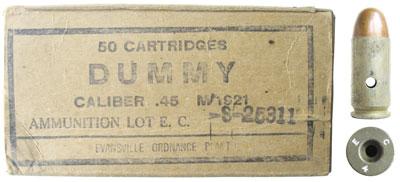 Учебный патрон Cal. .45 Dummy Cartridge, Model of 1921 и его картонная коробка