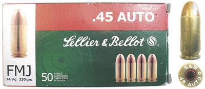 Патрон с пулей FMJ и коробка чешской фирмы Sellier&Bellot