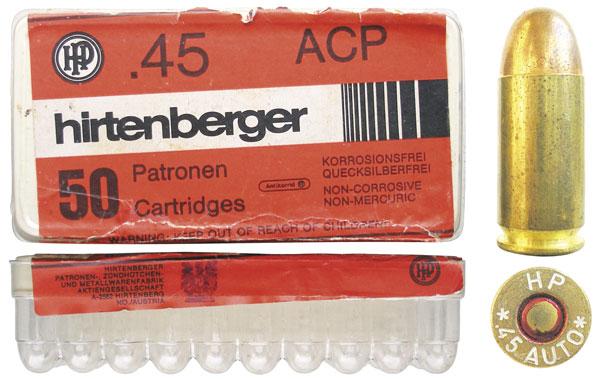 Патрон .45 АСР с оболочечной пулей и пластиковая коробка на 50 патронов австрийской компании Hirtenberger AG