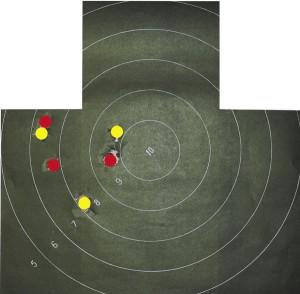 Результаты отстрела: желтым цветом отмечены попадания на дальности 35 м, красным — на 50 м