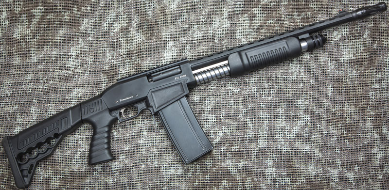 Tomahawk PA-1900 — пример помпового ружья с отъемным коробчатым магазином; такие модели в настоящее время набирают популярность