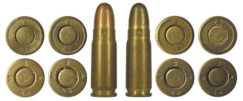 Военные патроны 7,62x25 с пулями в биметаллической и латунированной оболочках с соответствующими клеймами
