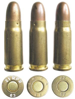 Боевые патроны, выпущенные заводами Uzinale Metalurgica di Cop?a Mica si Cugir (г.Куджир, Румыния), Uzina Mecanica Sadu (г.Бумбешти Джиу, Румыния) и Andezit Muvek (пос. Йоббаги, Венгрия)