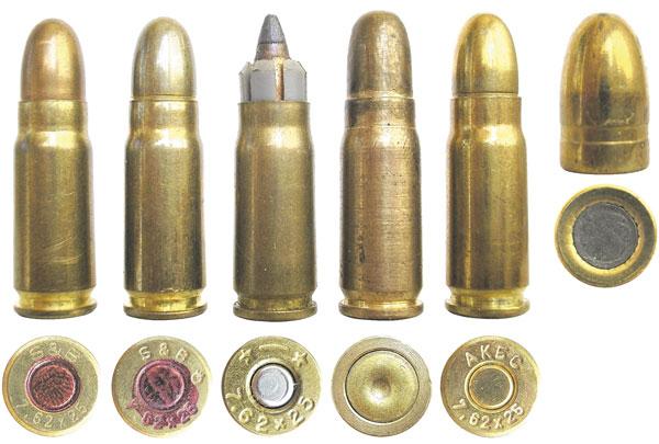 Коммерческие патроны 7,62х25 ТТ: от чешской компании Sellier&Bellot (раннего выпуска— слева и современного выпуска — справа); .223 Timbs — коммерческий патрон с подкалиберной пулей SP типа Remington Accelerator и гильзой 7,62x25 ТТ, предназначенный только для пистолетов CZ-52; опытный российский дробовой патрон с цельным латунным корпусом; коммерческий российский патрон 7,62х25 ТТ производства ООО «ПКП АКБС» (г. Нижний Новгород)