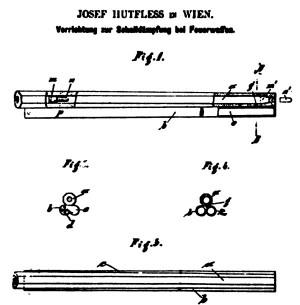 Бесшумный комплекс патрон-оружие с запиранием пороховых газов австрийского изобретателя Йозефа Хутфлесса (патент Австрии №5478 от 1 июня 1901 г.)