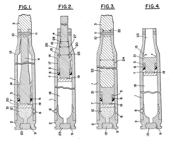 Конструкции бесшумных патронов Джеймса В. Данхэма (патент США №4173186 от 6 ноября 1979 г.), которые использовались для создания опытных боеприпасов по проекту Whisper: Fig. 1 и Fig. 2 — патрон с поддоном и толкателем (до и после выстрела), Fig. 3 и Fig. 4 — вариант патрона с жидкостью между поддоном и пулей (до и после выстрела)