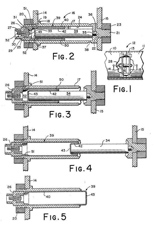 Схема работы патрона с диафрагмой Ирвина Р. Барра (патент США №3119302 от 28 января 1964 г.)