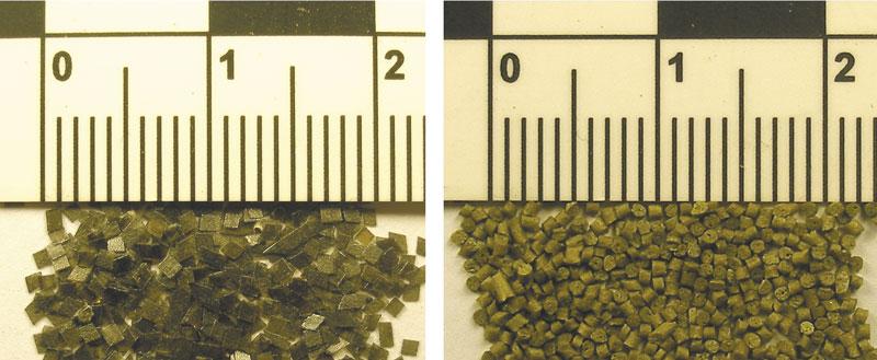 Внешний вид пороха патронов ПЗА (марка пороха неизвестна) и ПЗАМ (марка П-125)