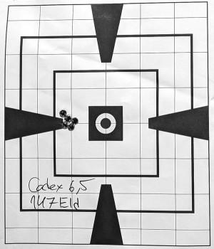 Дистанция 100 м, заводской патрон Hornady Match 6,5 Creedmoor, пуля ELD Match 147гран