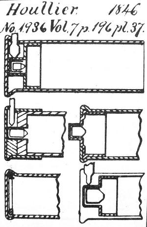Рисунок из французского патента №1963 за 1846 г. на улучшенную гильзу шпилечного патрона Бенжамина Улье