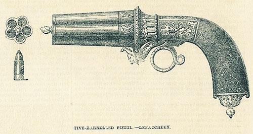 Револьвер Казимира Лефоше и шпилечный патрон к нему