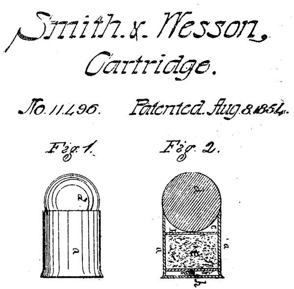 Первый патент Смита и Вессона на унитарный патрон 1854 г. (US. Patent № 11496)