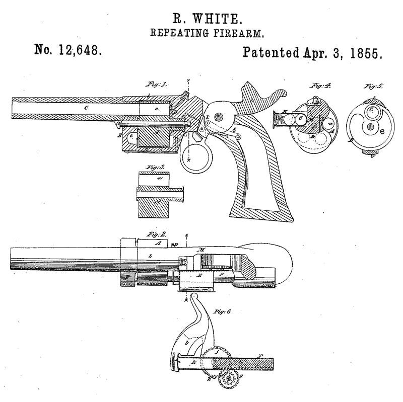 Рисунок из патента Роллина Уайта 1855 г. на револьвер со сквозными каморами (US. Patent № 12648), положивший начало «револьверной монополии» компании Smith & Wesson