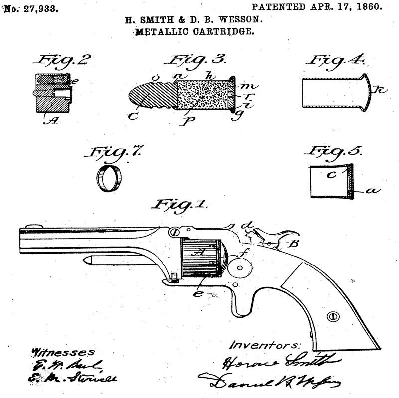 Рисунок из патента Смита и Вессона 1860г. на патрон кольцевого воспламенения (US. Patent №27933)