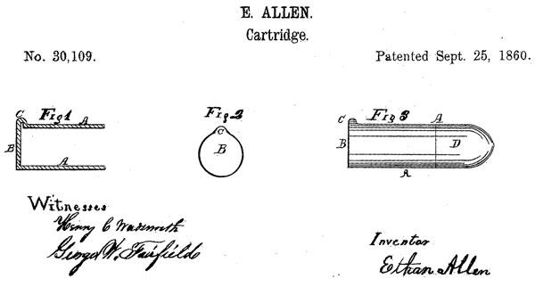 Рисунок из патента Итана Аллена № 30109 от 25 сентября 1860 г. на патрон типа lip fire