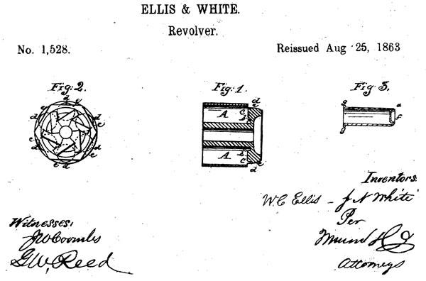 Рисунок из переизданного патента Эллиса и Вайта на револьверный барбан под патрон типа cupfire (US Patent Reissued №1528 от 25 августа 1863 года)