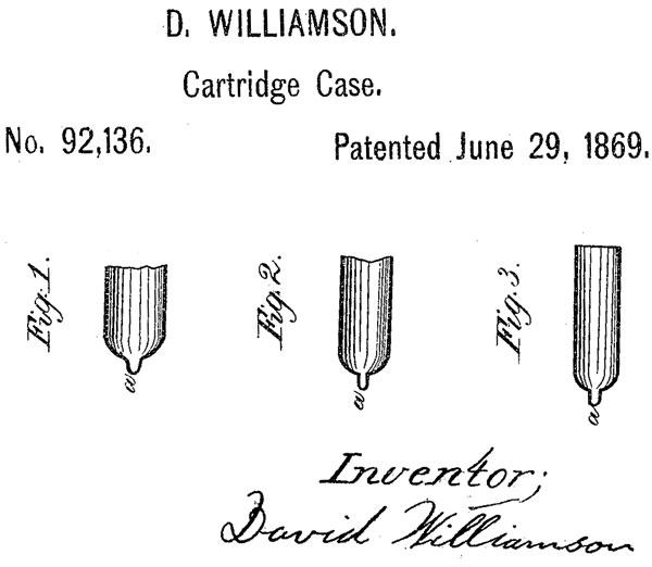 Модернизированная гильза патрона типа teat-fire из патента Дэвида Вилльямсона №92136 от 29 июня 1869 г.