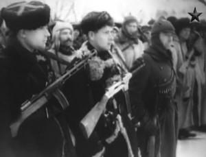 Пистолет-пулемет Бордюкова на кадрах кинохроники (зима 1943-1944 гг.)