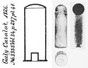 Чертеж патрона Гали-Газала из французского патента №3355 от 1826 г., фото и рентгеновский снимок его патрона