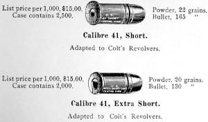 Рисунок из каталога компании U.S.C.Co за 1891 г., в котором вместе с патроном .41 Short Colt приведена его модификация — .41Colt Extra Short