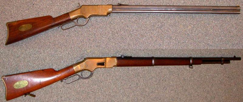 Винтовка Генри (вверху) и Winchester Model 1866