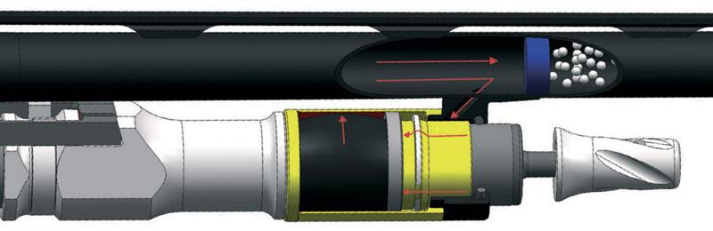 Схема работы фирменного газоотвода Pulse Piston...