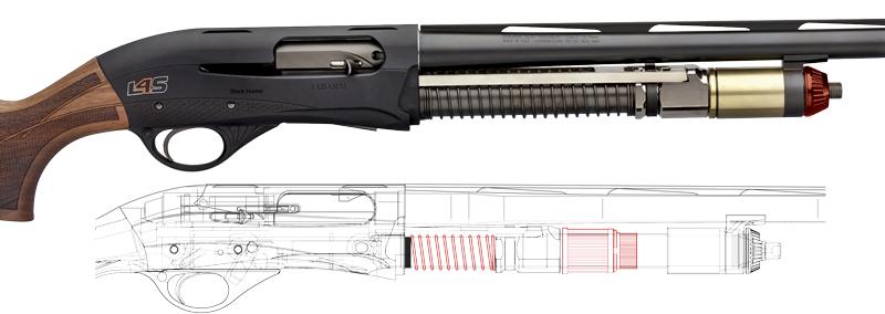 Возвратная пружина на трубе магазина повышает стабильность при стрельбе и минимизирует задержку повторного выстрела