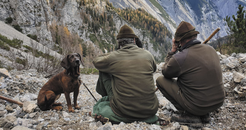 Даже многоопытные егери не упускают случая полюбоваться на привале горной альпийской красотой