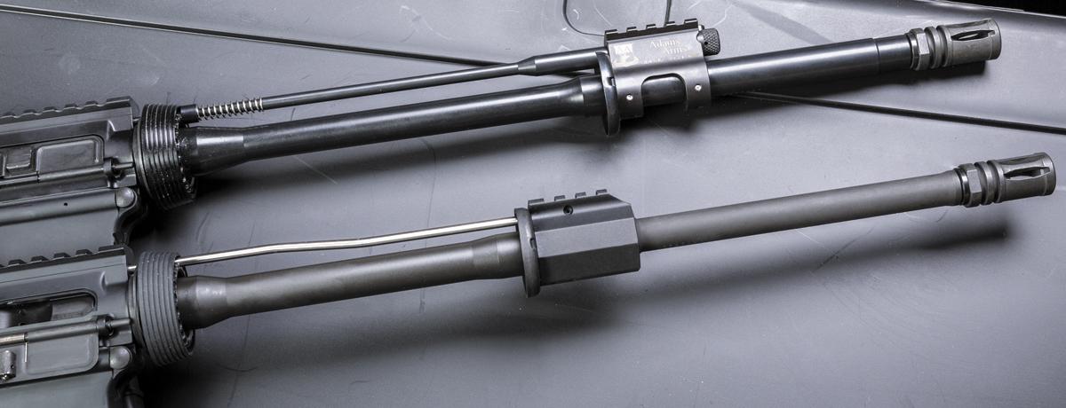 Соперники: поршневой газоотвод, он же Gas Piston (вверху) и оригинальный «прямой» отвод газов (Direct Impingement) Юджина Стоунера