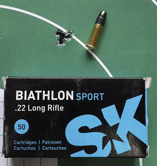 Патроны SK Biathlon Sport в винтовке Mark II BSEV демонстрируют великолепную кучность (5 выстрелов)