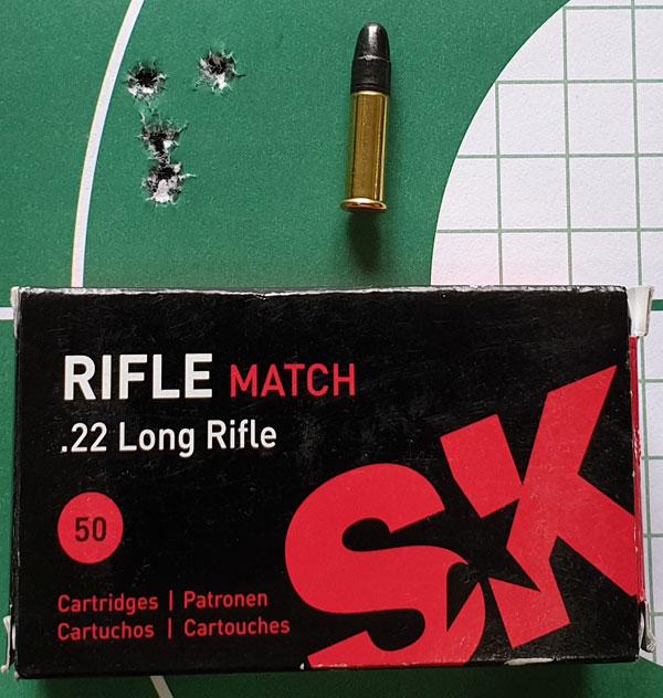 Патроны SK Rifle Match при стрельбе на 50 м также хороши, но в данной винтовке чуть уступили варианту Biathlon Sport